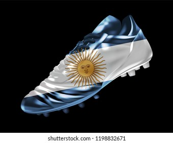 fa886c0cf Soccer football boot with the flag of Argentina printed on it, isolated on  dark background