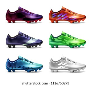 Soccer football boots cleats shoes realistic vector set isolated on white background