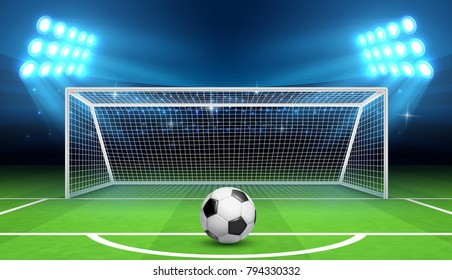 Soccer football championship vector background with sports ball and goals. Penalty kick concept. Gate soccer and ball on stadium illustration