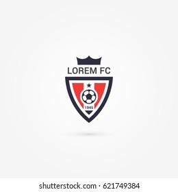 soccer football club crest logo emblem badge triangle with crown red dark blue