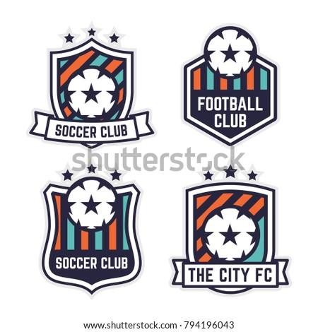 Soccer football club logo badge set stock vector royalty free soccer or football club logo or badge set football logo templates maxwellsz