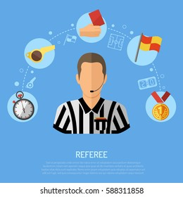 Soccer and Football concept with flat icons Referee, Ball, red card and award. Isolated vector illustration