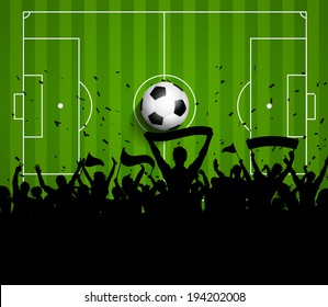 Soccer or football crowd on a green pitch background