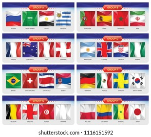 Soccer or football cup 2018. Set of national flags team group A - H. Vector for international world championship tournament.