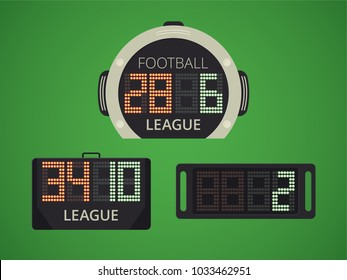 Soccer / Football Electronic Scoreboard for Player Replacement. Extra Time Panel. Sport Vector Illustration.