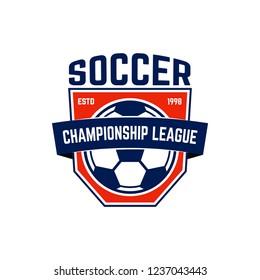 Soccer, football emblem. Design element for logo, label, emblem, sign. Vector illustration