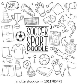 Soccer Football Famous Sport Traditional Doodle Icons Sketch Hand Made Design Vector