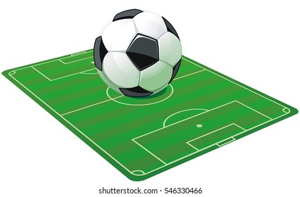 Soccer football field with ball, isolated on white background. Vector soccer ball. Abstract poster for sport design. Beautiful illustration with place for your text, eps8