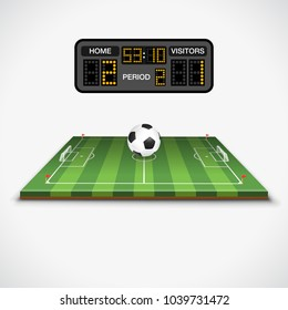 Soccer football field with ball, soccer scoreboard, flag, and goal. Realistic and flat icons. Isolated vector illustration