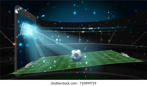 soccer football field and ball with spotlight from screen of smart phone and abstract glitter light on soccer stadium,soccer sport vector background concept
