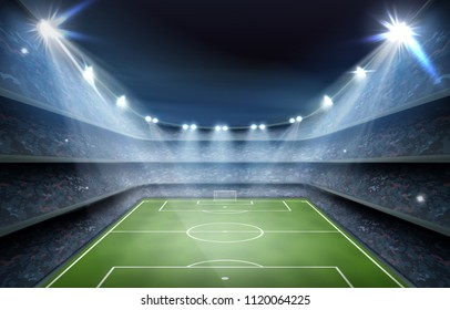 Soccer football field stadium arena field night light grass vector realistic background