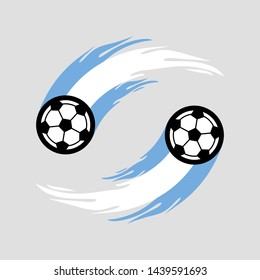 Soccer or football with fire tail in Argentina flag.