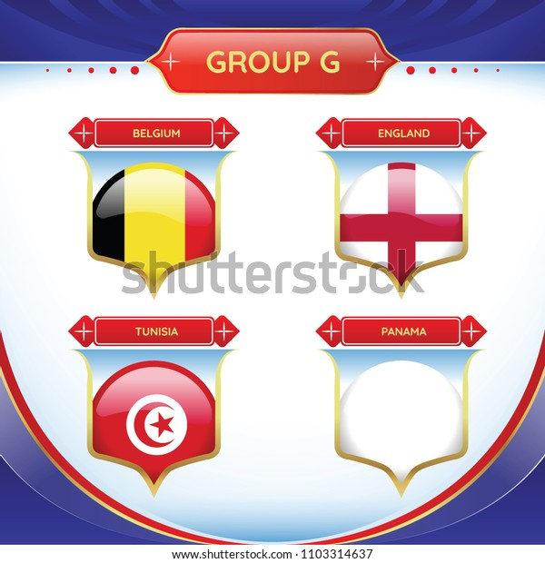 Soccer or football flag in a ball a group G. Vector for international world championship tournament.