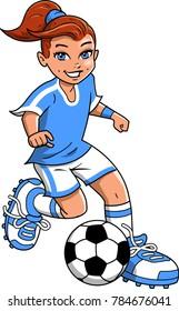 Soccer Football girl player vector clipart cartoon
