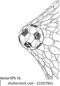 Soccer Football in Goal Net Vector Sketch Up, EPS 10.