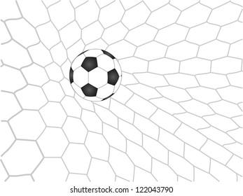 Soccer Football in Goal Net Vector, EPS 10.