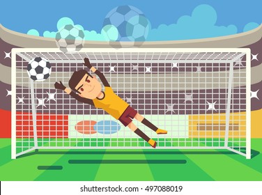 Soccer, football goalkeeper catching ball in goal vector illustration. Sport player on stadium