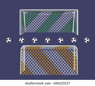 Soccer football goalpost with two colors net. Front and back views. Easy to remove yellow parts of nets.