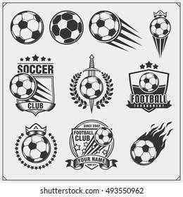 Soccer Football labels, emblems and design elements. Vector set. Monochrome design.