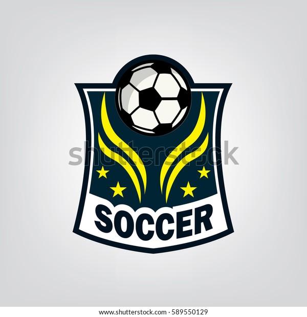 Soccer Football Logo Design Vector Illustration Stock Vector