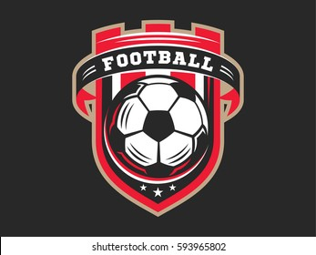 Soccer football logo, emblem designs templates on a dark background.