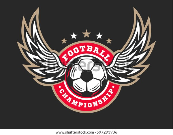 Soccer Football Logo Emblem Designs Templates Stock Vector