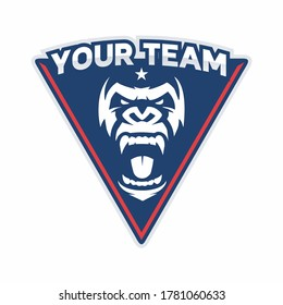 Soccer Football logo with Gorilla angry head vector, monkey head vector, esport Gorilla angry vector flat logo