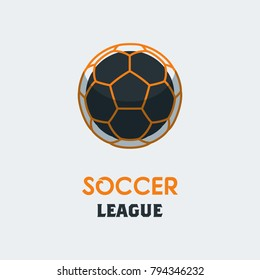 Soccer Football Logo Template. Modern Sport Ball Emblem on a Light Background