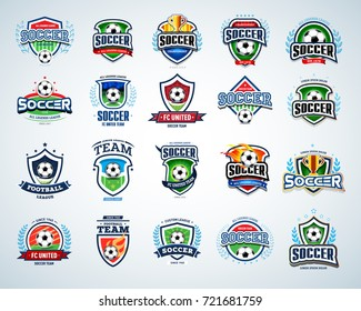 Soccer, football logo templates set. Isolated vector illustrations.