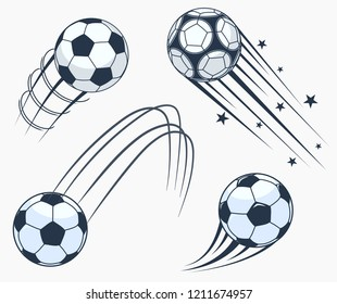 Soccer football moving swoosh elements, ball with motion trails, dynamic sport sign, sporting emblems design. Vector
