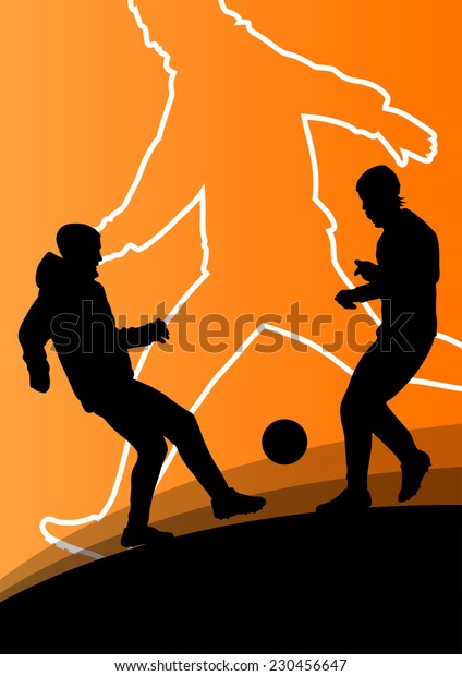 Soccer football players active young and healthy men sport silhouettes vector abstract background illustration