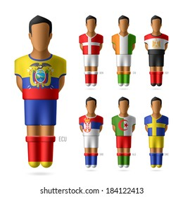 Soccer / football players in national flags uniform. Vector.