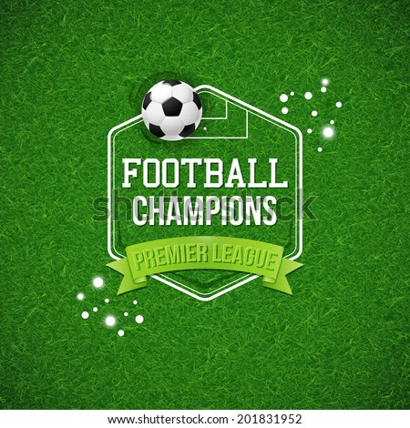 Soccer football poster. Soccer football field background with typography design and soccer football ball. Vector illustration.
