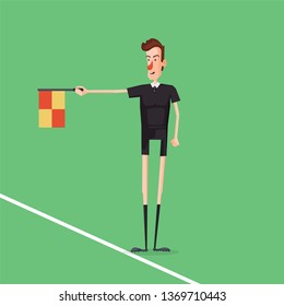 Soccer / Football referee linesman showing offside. Checkbox in hand. Cartoon style vector illustration.
