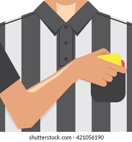 Soccer / Football Referee Showing Yellow Card From Pocket On T-shirt. Conceptual Vector Illustration.