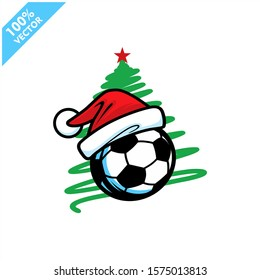 Soccer football santa hat with christmas tree background logo vector