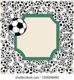 Soccer, football scattered balls blank frame. Background vector illustration isolated over white. Sport game equipment wallpaper. Square format.