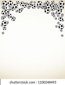 Soccer, football scattered balls blank frame. Background vector illustration isolated over white. Sport game equipment wallpaper. Vertical format.