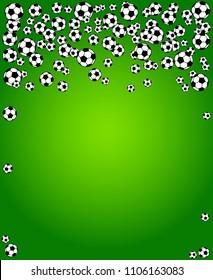 Soccer, football scattered balls blank frame. Background vector illustration over bright green grass field. Sport game equipment wallpaper. Vertical format.