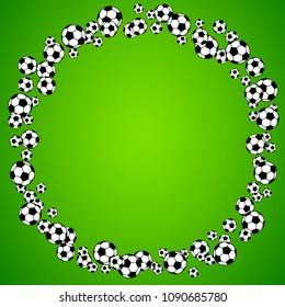 Soccer, football scattered balls round blank frame. Background vector illustration over bright green grass field. Sport game equipment wallpaper. Square format.