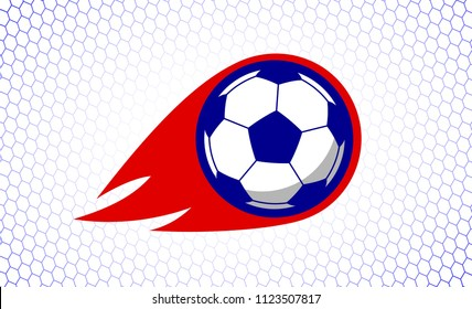 Soccer football sport game fire ball design illustration on white goal net backdrop. Tee shirt clothing apparel print banner background. Abstract concept lettering logo slogan.
