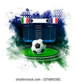 Soccer football stadium spotlight and scoreboard background with light