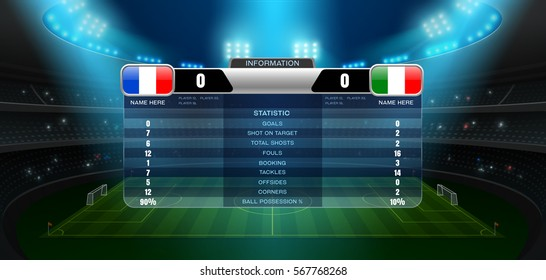 soccer football stadium spotlight and scoreboard background with glitter light vector