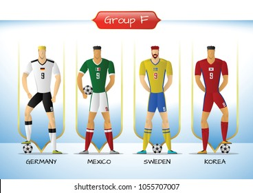 Soccer or football team 2018 uniform a group F. players with team shirts flags. vector illustration.