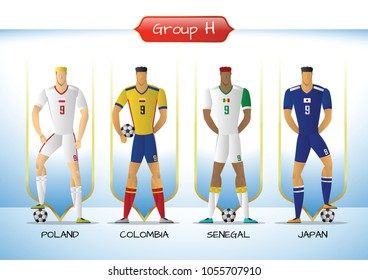 Soccer or football team 2018 uniform a group H. players with team shirts flags. vector illustration.