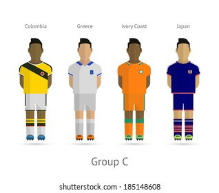 Soccer / Football team players. Group C - Colombia, Greece, Ivory Coast, Japan. Vector illustration.