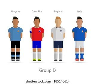 Soccer / Football team players. Group D - Uruguay, Costa Rica, England, Italy. Vector illustration.