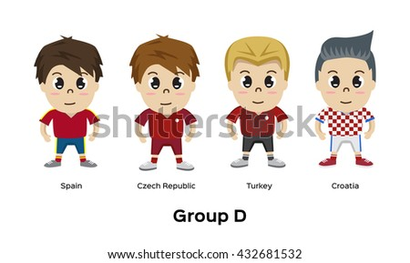 5bfab69c6ac Soccer Football Team Players Group Spain Stock Vector (Royalty Free ...