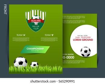 soccer football tournament championship game flyer stock vector