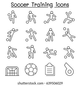 Soccer, Football Training icons set in thin line style